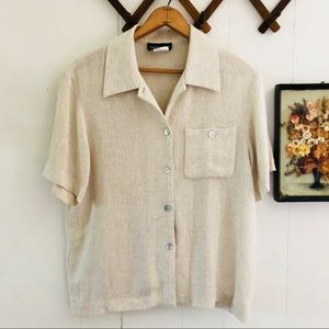 Vintage Flax Knit Button Down